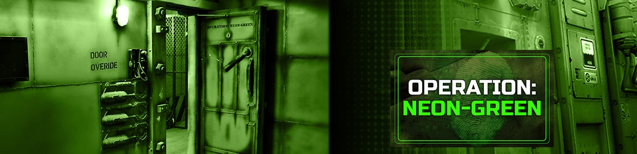 Escape Game Operation Neon Green, Roomrider SG. Singapore.